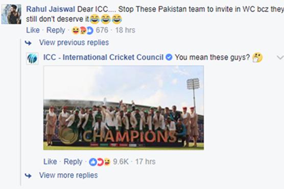 پاکستانی ٹیم پر طنز بھارتی شہری کو مہنگا پڑ گیا ، آئی سی سی کا کرارا جواب