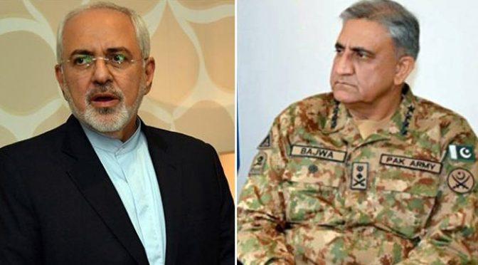 جنرل قمر جاوید باجوہ سے ایرانی وزیر خارجہ کی ملاقات،دو طرفہ تعلقات پر بات چیت