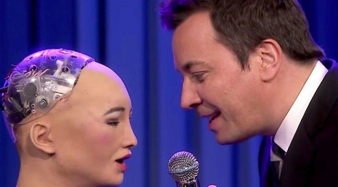 خاتون روبوٹ نے مرد کے ساتھ رومانوی گانا گا کر تاریخ رقم کردی
