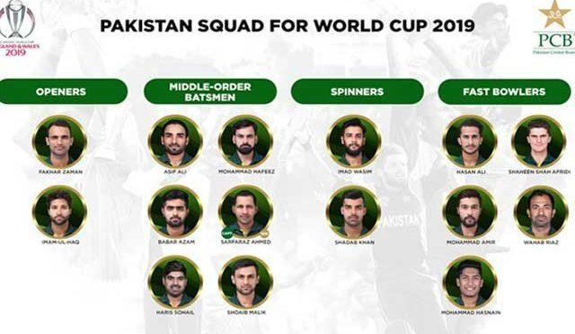 ورلڈ کرکٹ ٹورنامنٹ کے لئے پاکستان کی حتمی ٹیم کا اعلان کردیا گیا