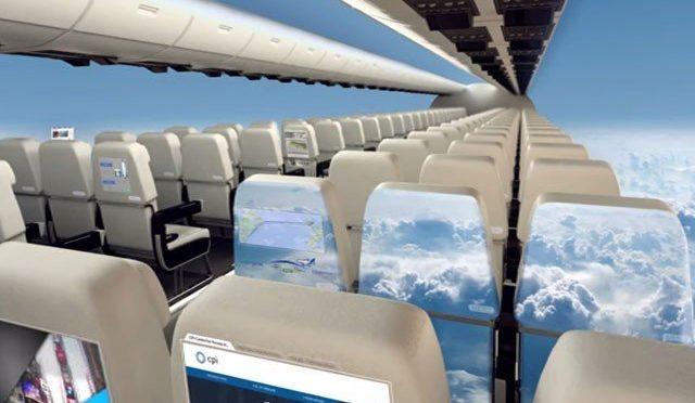 بغیر کھڑکی والے طیارے اسکرین پر باہر کا پورا منظر دکھائیں گے