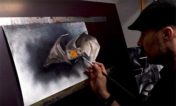 کاغذ پر تھری ڈی تصویریں بنانے والا مصور