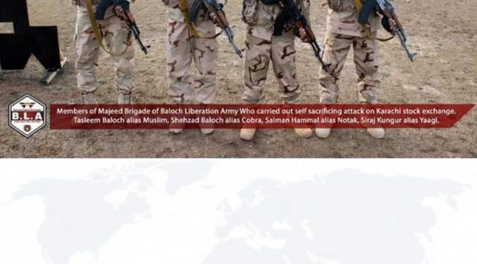 کالعدم تنظیم بی ایل اے نے پاکستان سٹاک ایکسچینج پر حملہ کرنے والے چاروں دہشت گردوں کی تصاویر جاری کر دی